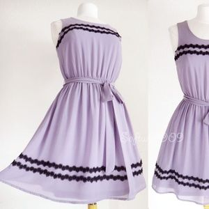 Do & Rae Dresses - Lavender Lilac Black Lace Trim Fit & Flare Dress